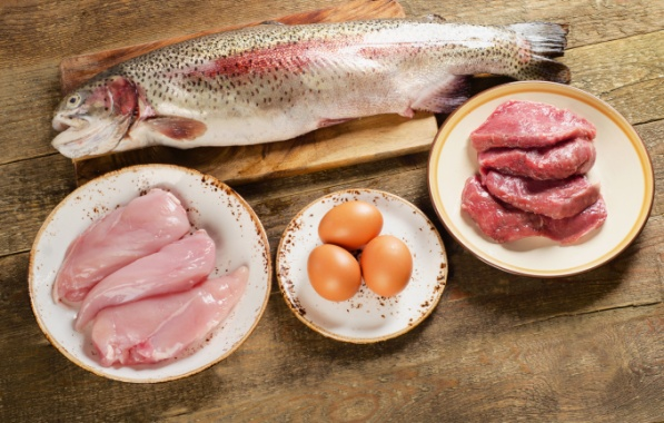 High Protein Foods on wooden table.
