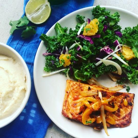 Paleo salmon recipe and cauliflower mash